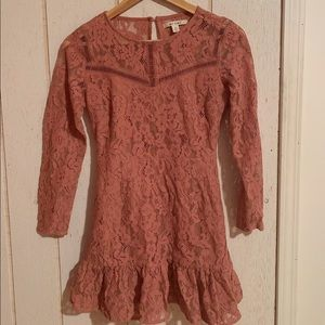Pink lace fringe long sleeve mini dress